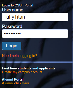 Username input on top of password input and a login button below it
