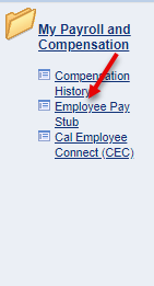 employee pay stub link located under compensation history